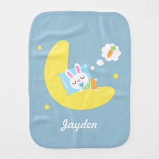 Cute Dreamland Bunny on Moon For Baby Boy Burp Cloth