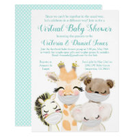 Cute Drive By Baby Shower Baby Animals Masks Invitation