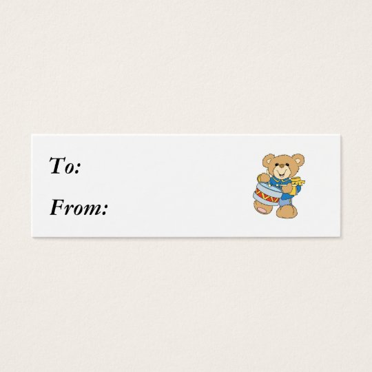 Cute Drummer Teddy Bear Mini Business Card
