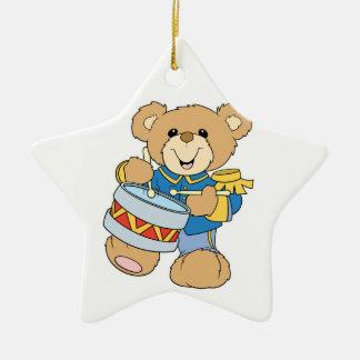 Cute Drummer Teddy Bear Double-Sided Star Ceramic Christmas Ornament