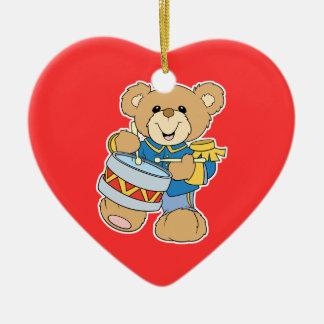 Cute Drummer Teddy Bear Double-Sided Heart Ceramic Christmas Ornament