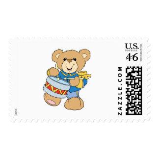 Cute Drummer Teddy Bear Postage Stamps