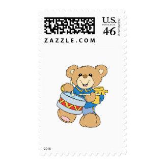 Cute Drummer Teddy Bear Stamps