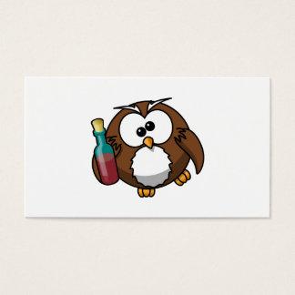 Cute Drunken Cartoon Owl Business Card