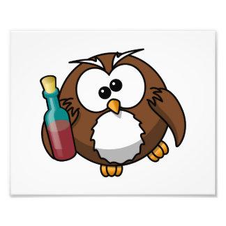 Cute Drunken Cartoon Owl Photo Print