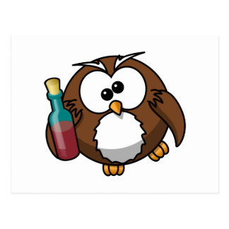 Cute Drunken Cartoon Owl Postcard