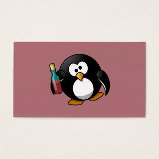 Cute Drunken Penguin Art on Purple Business Card
