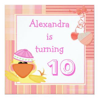 Cute Duck And Love Hearts 10th Birthday 5.25x5.25 Square Paper Invitation Card