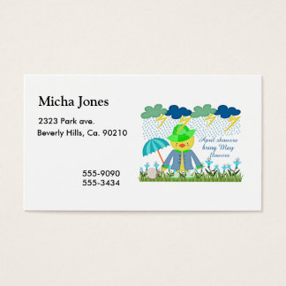 Cute Duck April Showers Bring May Flowers Business Card