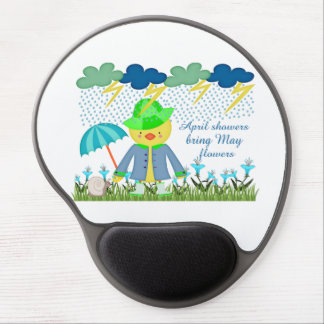 Cute Duck April Showers Bring May Flowers Gel Mouse Pad