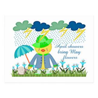 Cute Duck April Showers Bring May Flowers Postcards