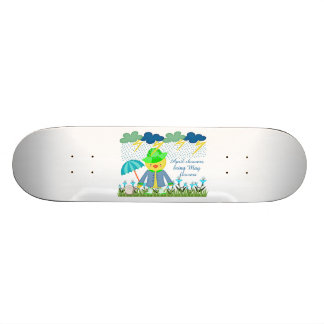 Cute Duck April Showers Bring May Flowers Skateboard