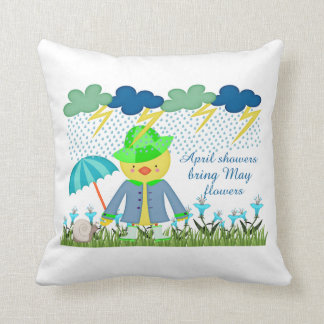 Cute Duck April Showers Bring May Flowers Throw Pillow
