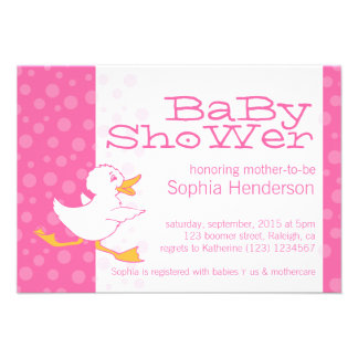 Cute duck baby shower pink invitation