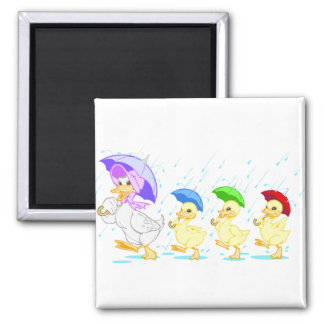 Cute Duck Family in Rain Fridge Magnets