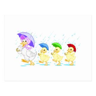 Cute Duck Family in Rain Postcard