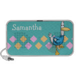 cute duck in a blue sweater with argyle background speaker system
