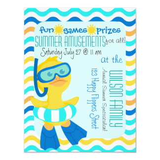 Cute Duck in Flippers and a Snorkel 4.25x5.5 Paper Invitation Card