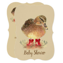 Cute Duck in Red Boots Baby Shower Card