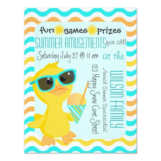 Cute Duck in Sunglasses Holding a Sonw-Cone Card
