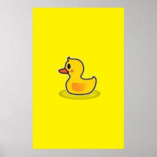 Cute Duck Swimming Cartoon Poster