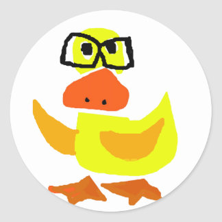 Cute Duck Wearing Glasses Art Classic Round Sticker