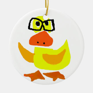 Cute Duck Wearing Glasses Art Double-Sided Ceramic Round Christmas Ornament