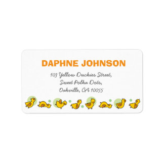 Cute Duckies Green Dots Baby Shower Address Labels