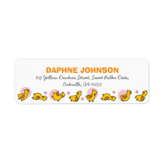 Cute Duckies Pink Girl Baby Shower Address Labels