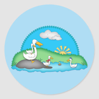 Cute Ducks at the Pond Round Stickers