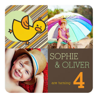 "Cute Ducks Boy Girl Twins Joint Birthday Invite 5.25"" Square Invitation Card"