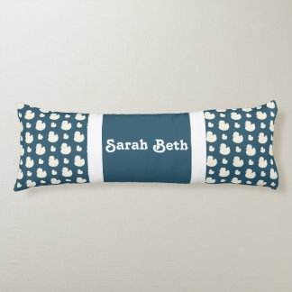 Cute Ducks, Slate Blue & White, Add your name Body Pillow