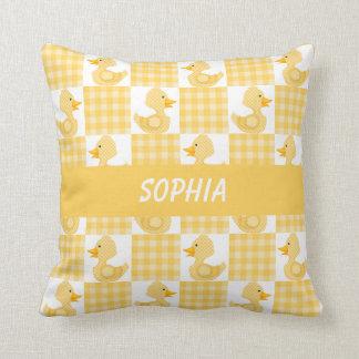 Cute Ducks (Yellow) Throw Pillow