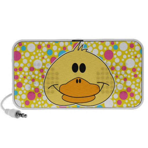 cute ducky duckie duck face and crazy polka dots iPod speakers