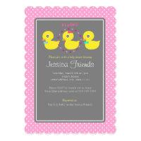 Cute ducky girl baby shower invitation