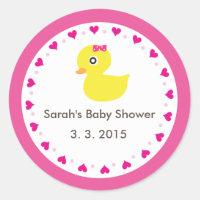 Cute ducky girl baby shower sticker