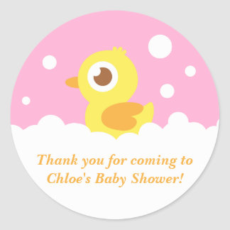 Cute Ducky in Bubble Bath for Girl Baby Shower Classic Round Sticker