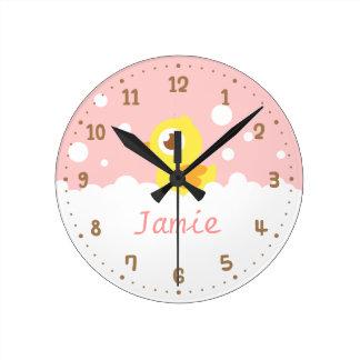 Cute Ducky in Bubble Bath Girls Room Wall Clock