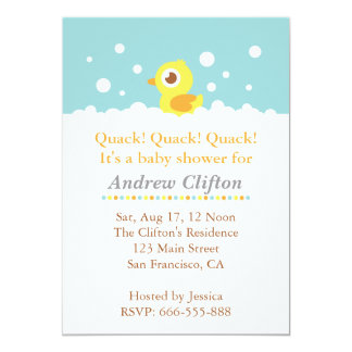Cute Ducky with Bubbles Baby Shower Party Card