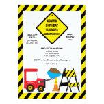 "Cute Dump Construction Birthday Party Invite 5"" X 7"" Invitation Card"
