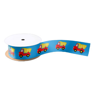 Cute dump truck boys baby shower satin gift ribbon
