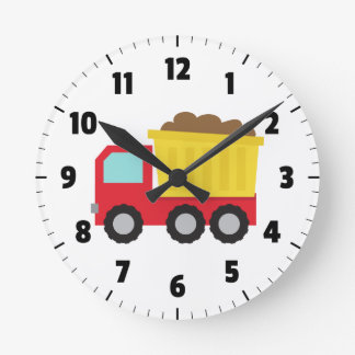 Cute Dump Truck, Construction Vehicle, Boys Room Round Clock