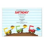"Cute Dump Trucks Birthday Party Invite 5"" X 7"" Invitation Card"