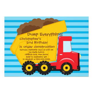 Cute Dump Trucks Boys Birthday Party Invitations