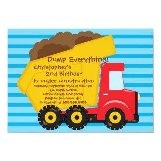 "Cute Dump Trucks Boys Birthday Party Invitations 5"" X 7"" Invitation Card"