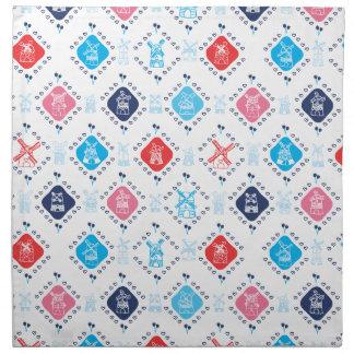 Cute dutch tulip windmill pattern design napkin