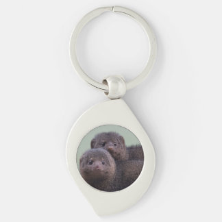 Cute Dwarf Mongoose Pair Silver-Colored Swirl Metal Keychain