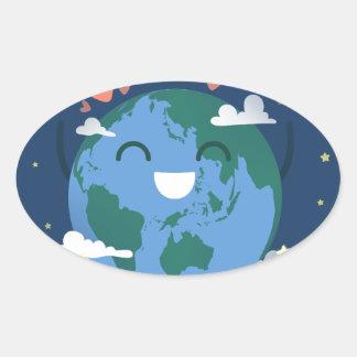 cute Earth Day Oval Sticker