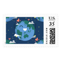 cute Earth Day postage postal stamps