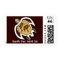 Cute Earth Day Turtle With World Map On Shell stamp